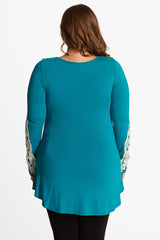 Teal Crochet Accent Sleeve Plus Size Maternity Top