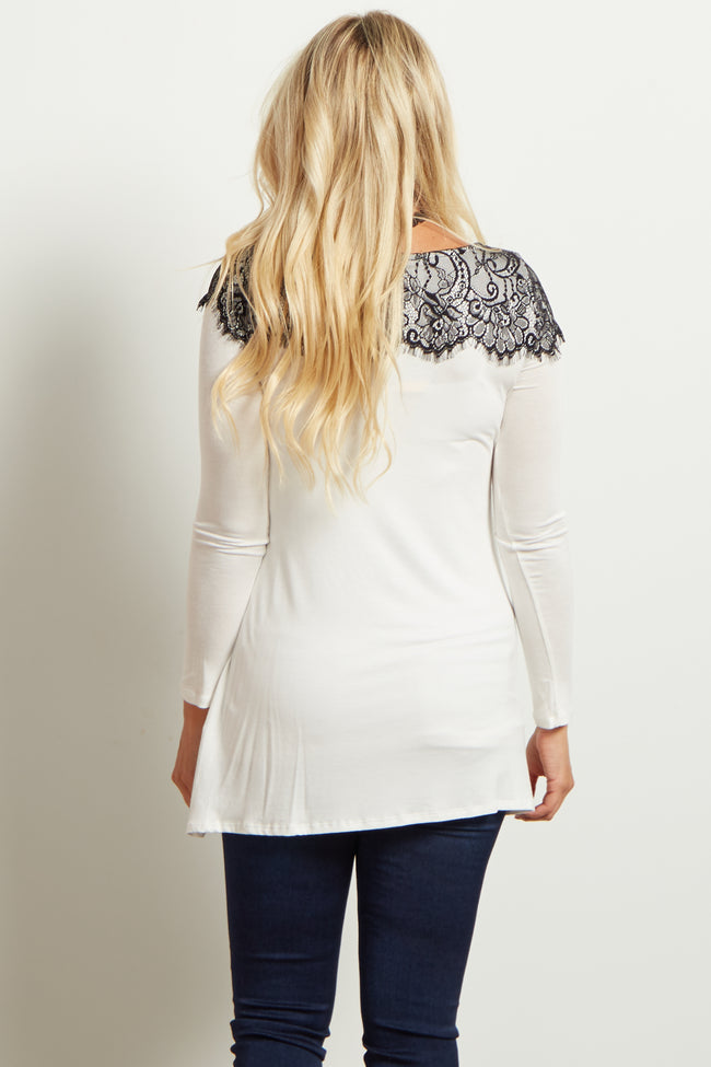 White Black Lace Accent Long Sleeve Maternity Top