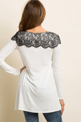 White Black Lace Accent Long Sleeve Top