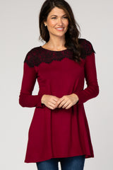 Burgundy Black Lace Accent Long Sleeve Top