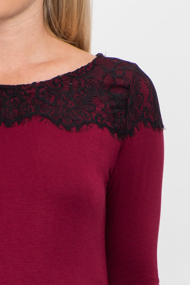 Burgundy Black Lace Accent Long Sleeve Maternity Top