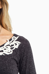 Black Knit Crochet Neckline Long Sleeve Top