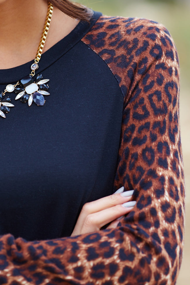 Black Cheetah Print Sleeve Top