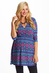 Royal Blue Multi-Color Printed Knit Maternity/Nursing Top