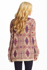 Taupe Pink Purple Tribal Print Knit Open Maternity Cardigan