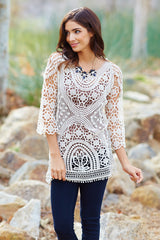 Ivory Crochet Lace 3/4 Sleeve Semi-Sheer Top
