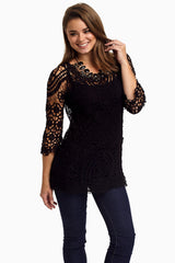 Black Crochet Lace 3/4 Sleeve Semi-Sheer Top