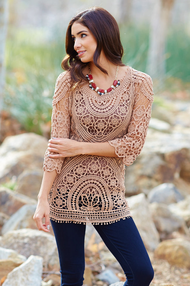 Mocha Crochet Lace 3/4 Sleeve Semi-Sheer Top