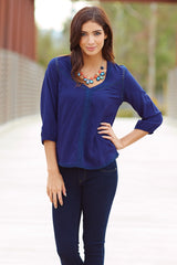 Navy Blue Square Crochet Cutout Bohemian 3/4 Sleeve Top