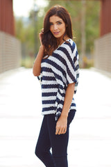 Black White Striped Lace Accent Back Knit Top