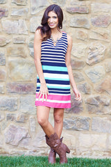 Pink Multi-Colored Alternating Striped Zipper Back Shift Dress