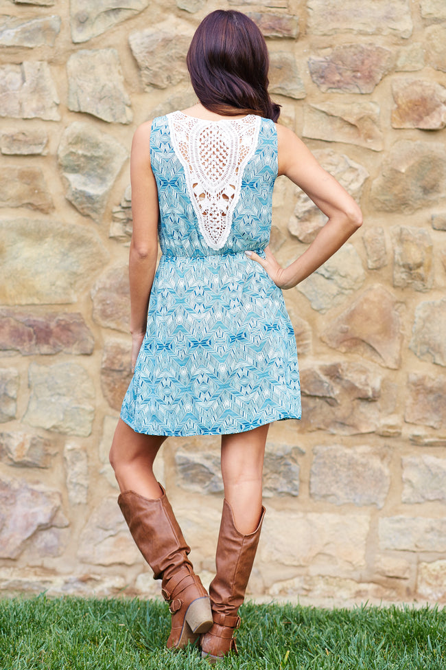 Teal Ivory Printed Crochet Back Dress