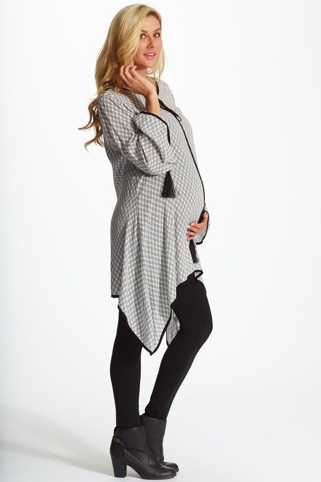 White Black Printed Tie Front Linen Maternity Tunic
