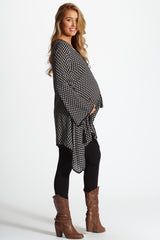 Black White Printed Tie Front Linen Maternity Tunic