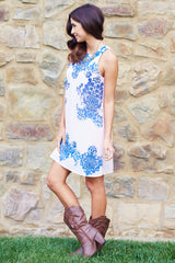 Dusty Pink Blue Damask Printed Chiffon Dress