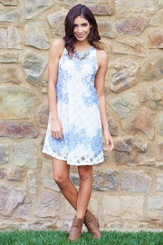 Ivory Blue Damask Printed Lace Dress