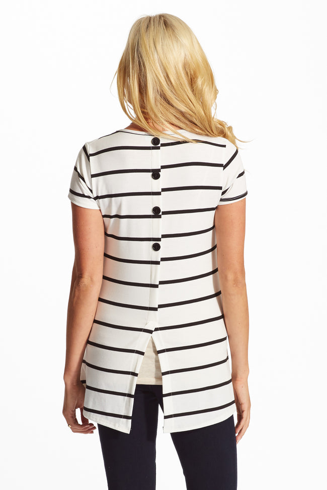 White Black Striped Button Back Short Sleeve Maternity Top