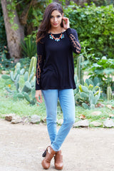Black Polka Dot Mesh Sleeve Top