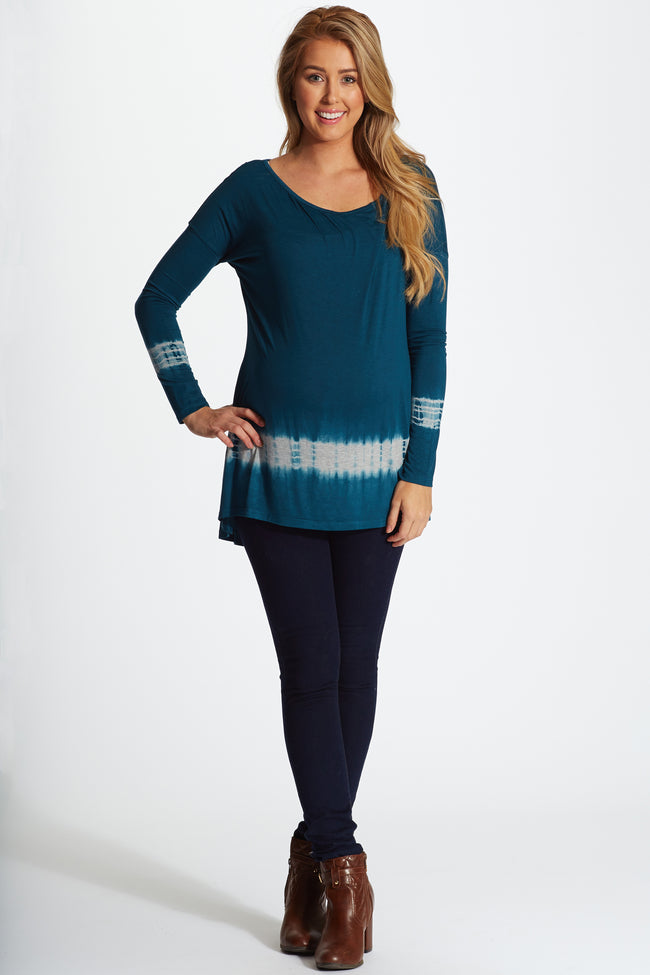 Teal Tie Dye Trim Long Sleeve Maternity Top