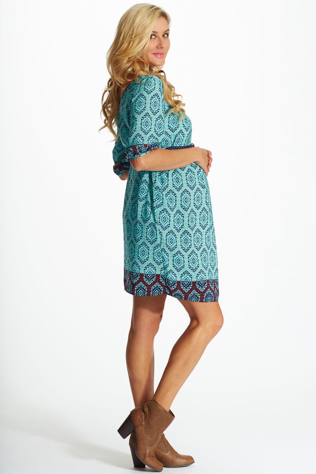 Light Blue Multi-Colored Aztec Print Belted Maternity Dress