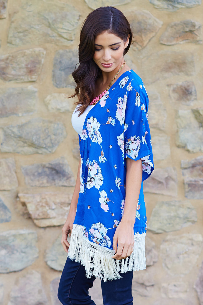 Royal Blue Floral Fringe Trim Cover Up