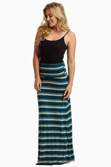 Teal Beige Alternating Striped Maxi Skirt
