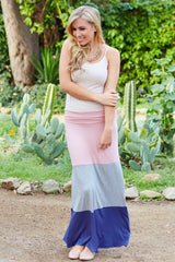 Pink Grey Purple Colorblock Maxi Skirt