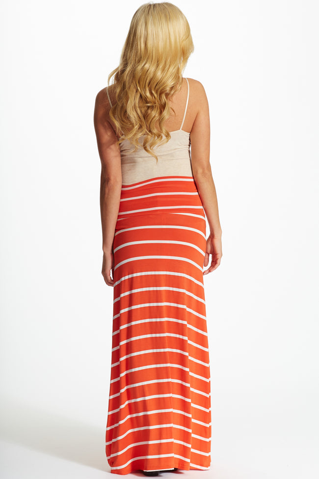 Orange White Striped Maternity Maxi Skirt