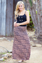 Mocha Black Diamond Printed Maxi Skirt