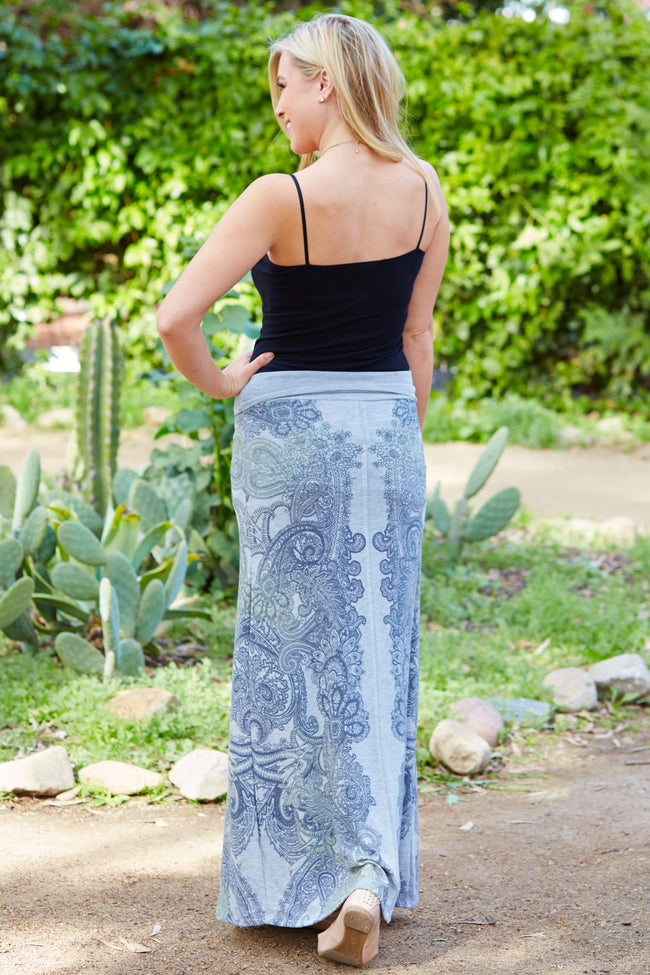 Grey Paisley Printed Maxi Skirt