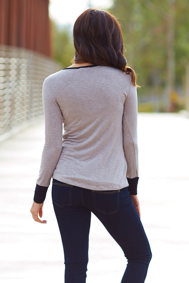 Taupe Black Colorblock Long Sleeve Top