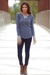 Black Heathered Elbow Patch Knit Top