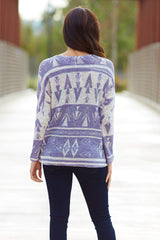 Lavender Ivory Tribal Print Knit Top