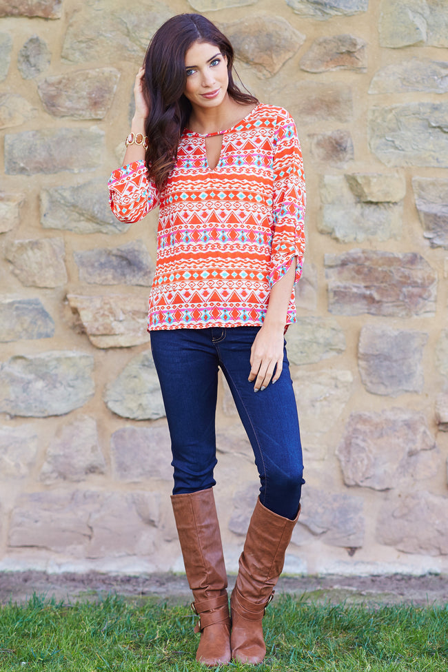 Coral Multi-Color Printed Chiffon 3/4 Sleeve Blouse