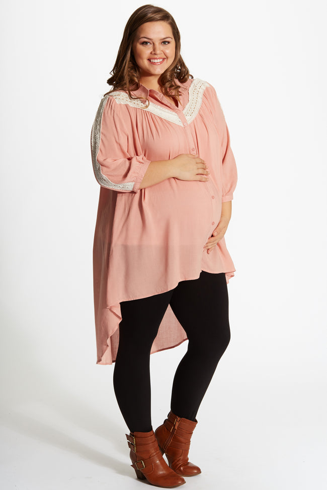 Dusty Pink Crochet Accent Button Up Plus Size Hi-Low Maternity Tunic