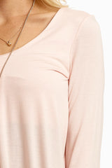 Light Pink Pleated Front Basic Top