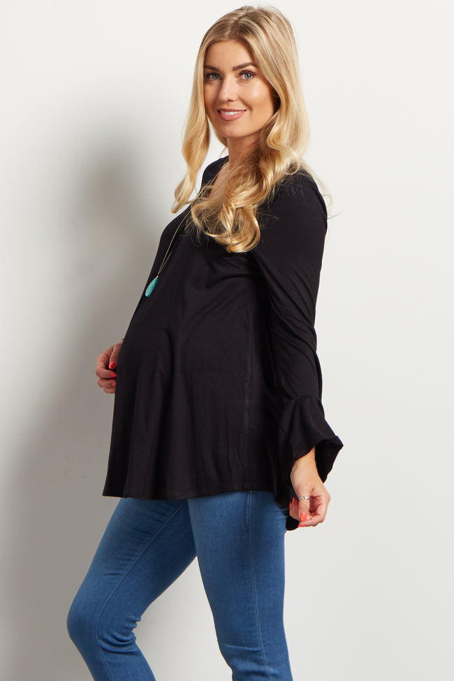 Black Pleated Front Basic Maternity Top