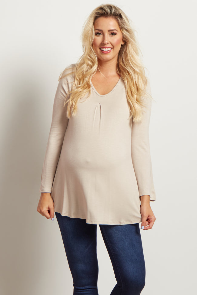 Taupe Pleated Front Basic Maternity Top