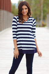 Navy Blue White Striped Button Back 3/4 Sleeve Top
