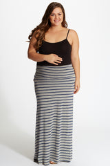 Grey Navy Blue Striped Plus Size Maternity Maxi Skirt