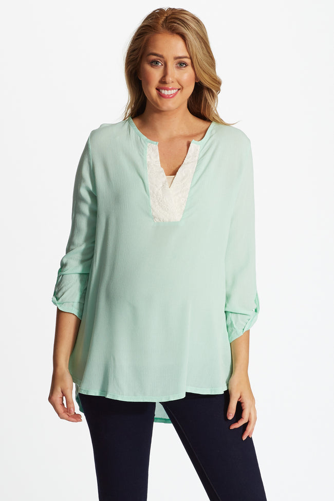 Mint Green Embroidered Accent Linen Maternity/Nursing Blouse
