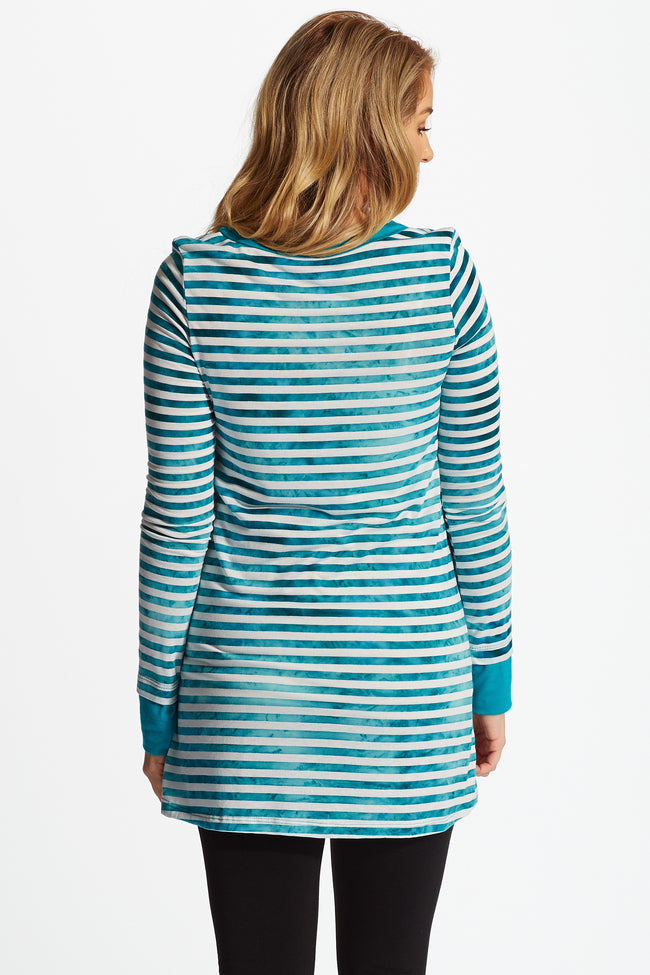 Teal White Faded Striped Long Sleeve Maternity Top