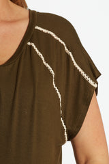 Olive Green Chevron Crochet Shoulder Accent Maternity Top