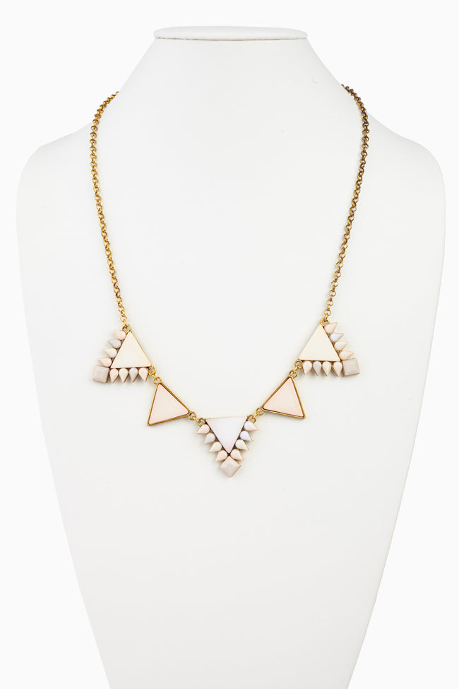 Light Pink Triangle Stone Pendant Necklace