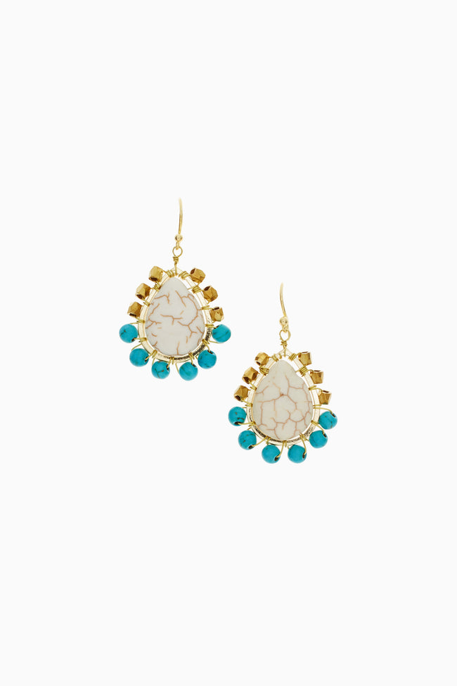 Ivory Turquoise Accent Stone Pendant Drop Earring