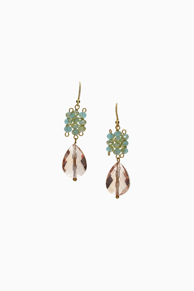 Light Blue Pink Jeweled Drop Earring