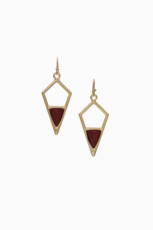 Burgundy Stone Accent Geometric Drop Earring