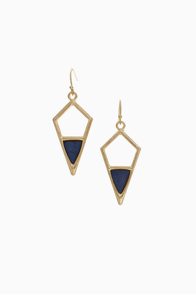 Navy Blue Stone Accent Geometric Drop Earring