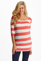 Coral White Wide Striped 3/4 Sleeve Maternity Shirt