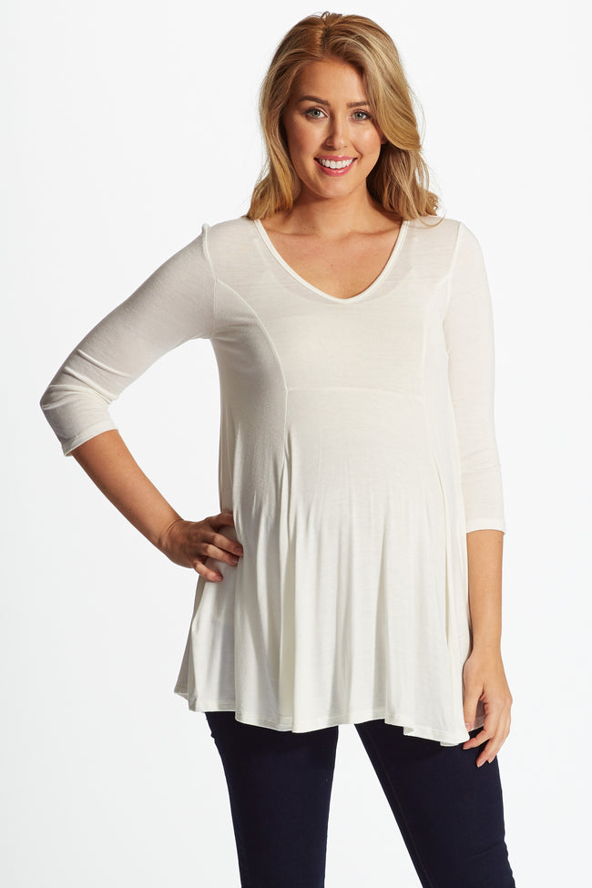 Ivory 3/4 Sleeve Baby Doll Maternity Top